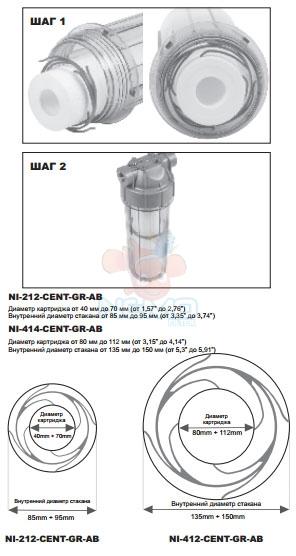 Установка диска стабилизатора AQUAFILTER NI-212-CENT-GR-AB