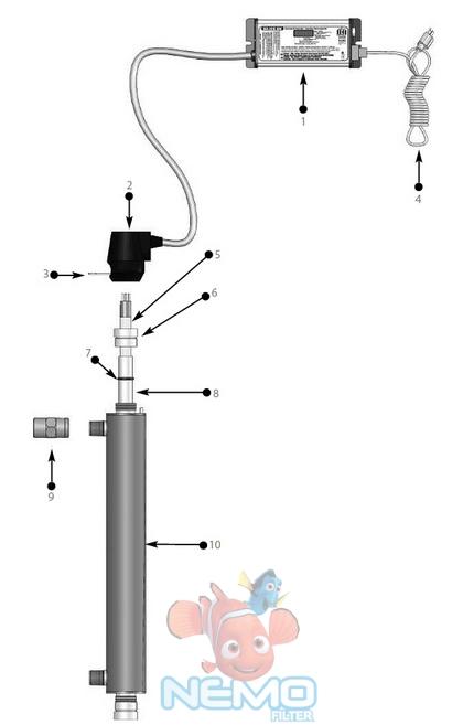 Конструкция ультрафиолетовой лампы R-Can Sterilight S1Q-PA