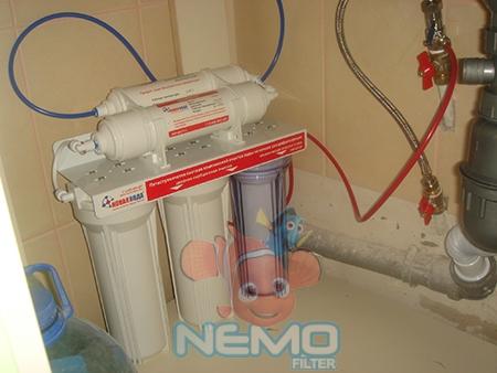 Пример установки фильтра под мойку НОВАЯ ВОДА NW-UF510