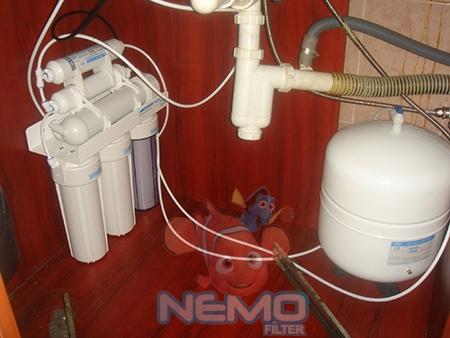 Пример установки фильтра обратного осмоса AQUALINE RO-6