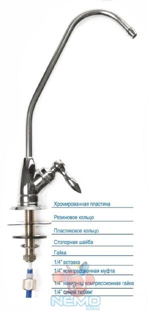 Схема подключения крана для питьевой воды к фильтру